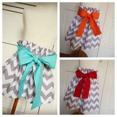 Kenzie Skirt - Grey and White Chevron High Waist Paper Bag Skirt. $25.00, via Etsy.