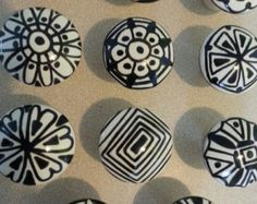 Off white and black ultra doodled hand painted knobs unique