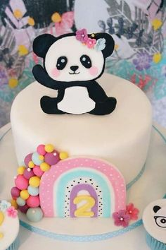 Don't miss this sweet panda-themed birthday party! What a gorgeous cake! See more party ideas and share yours at CatchMyParty.com