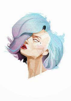 #fashion #illustration #face #portrait by www.losttimedesign.com