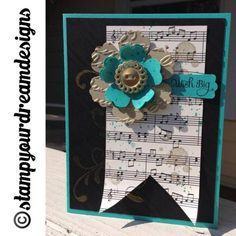 Gorgeous Grunge meets Elegance - Black, Gold and Bermuda Bay make a very dramatic and elegant color combo. Gold embossing powder on Vintage Buttons.  Stamped gold and bermuda splotches onto the music sheet page from Modern Medley DSP with Gorgeous Grunge Stamp Set