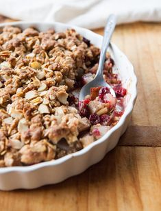 In partnership with #BobsRedMill, a Spiced Pear, Cranberry and Marzipan Crumble | A Sweet Spoonful