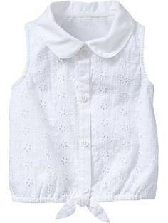 Eyelet Tie-Waist Tops for Baby Frocks For Girls, Kids Frocks, Dresses Kids Girl, Toddler Girl Outfits, Kids Outfits, Toddler Girls, Pakistani Kids Dresses, Girls Blouse, Clothing Patterns