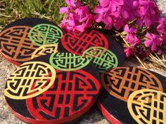Round Hanji Paper Magnets, Traditional Asian Pattern, Handmade (set of 4)