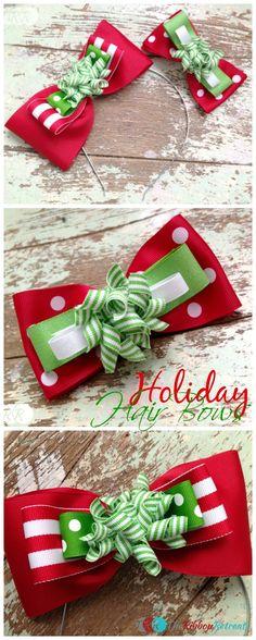 Easy Holiday Hair Bows - The Ribbon Retreat Blog