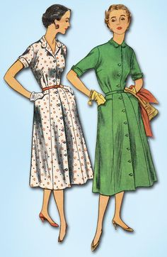 """Simplicity Pattern 4731 Misses' Day Dress Pattern with Shirtwaist Style Front Buttons Dated 1954 Factory Folded and Unused Nice Condition Overall Size 12 (30"""" Bust)"""