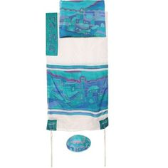 """Size: 21"""" X 77"""" / 53 X 196 cm We are proud to present an exciting line of Artistic Judaica by Yair Emanuel. This gorgeous silk tallit features a colorful vista of the Old City of Jerusalem hand-painted onto the fabr"""