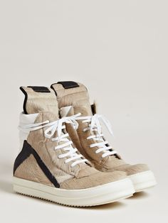 LN-CC recently released this trio of Rick Owens sneakers featuring tan colored ponyhair and brushed black leather. The models include the familar high-top ...