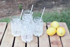 baby or bridal shower...lace wrapped mason jars with striped straws