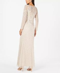 Adrianna Papell - Embellished Illusion Gown Daytime Dresses, Formal Dresses, Wedding Dresses, Bride Dresses, Maxi Dresses, Evening Dresses, Mother Of Bride Outfits, Gowns Online, Plus Size Activewear
