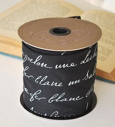 Black and White French Script Ribbon - Wired
