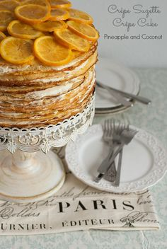 A 40 layer crepe cake. Crepe Suzette Crepe cake to be exact. Layers of tender orange infused crepes with vanilla pastry cream filling. Just Desserts, Delicious Desserts, Dessert Recipes, Yummy Food, Pancake Recipes, Crepe Recipes, Waffle Recipes, Breakfast Recipes, Cupcakes