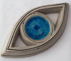 Evil eye ceramic wall art sculpture blue eye made in Greece