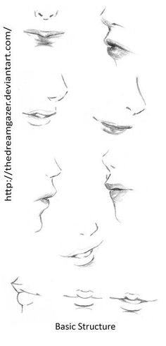 Delineate Your Lips . - How to draw lips correctly? The first thing to keep in mind is the shape of your lips: if they are thin or thick and if you have the M (or heart) pronounced or barely suggested. Side Face Drawing, Girl Eyes Drawing, Anime Mouth Drawing, Side View Drawing, Face Drawing Reference, Anatomy Reference, Drawing Skills, Drawing Techniques, Drawing Tutorials
