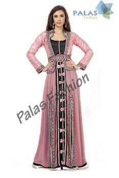 Moroccan Caftan / Kaftan Dress - Pink Embroidered Dubai Kaftan Abaya Jalabiya