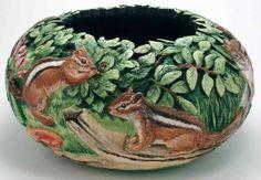 Bonnie Gibson Gourd Artist | Gourd carver, Phyllis Sickles; Artist, Bonnie Gibson | Chipmunks