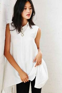 Silence + Noise Trapeze Tunic Top - Urban Outfitters- rayon nylon