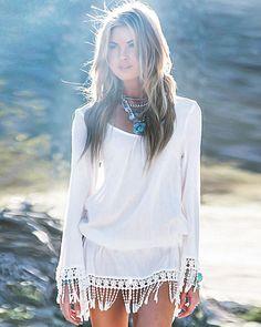 afa6ce902719f9 Summer Women Boho Dress Short Tassel Vestidos Sexy Lace Crochet Chiffion  Tunic Hollow hollow out pareos Beach Shirt Dress Blusas