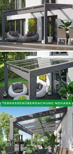 Modern terrace covering: Enjoy the first rays of sunshine of the year on your terrace. Back Gardens, Outdoor Gardens, Wooden Terrace, Getaway Cabins, Pergola Designs, Pergola Plans, Diy Pergola, Gazebo, Terrazzo