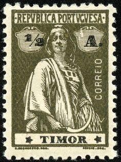Timor  1914-23 Scott 156 ½a olive brown Perf 12×11½; Star orientation III-IV