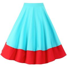 'Ohlson' Aqua Red Circle Skirt ($47) ❤ liked on Polyvore featuring skirts, turquoise, red circle skirt, red skirt, knee length circle skirt, knee length skirts and blue skater skirt