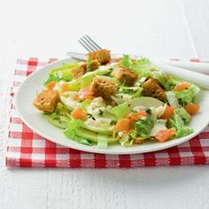 Recept - Frisse maaltijdsalade met appel en zalm - Allerhande