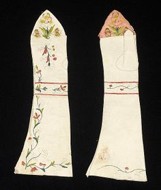 Mitts, 4th quarter 18th century, possibly British. Leather, silk. Met, 2009.300.6196a, b