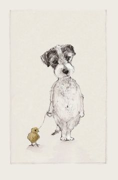 A Dog and his Chick by annatyrrell on Etsy