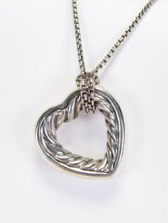 "A David Yurman sterling silver open heart cable necklace, pendant measures 1"" x 1"" and is attached to a David Yurman sterling silver 20"" box chain, 18K yellow gold tag accent #yurman #heart #wickliff"