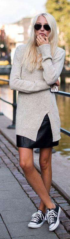 Beige Long Line Split Fitted Knit Sweater