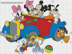 Mickey Mouse and friends x-stitch Disney Cross Stitch Patterns, Cross Stitch For Kids, Cross Stitch Baby, Cross Stitch Kits, Cross Stitch Charts, Cross Stitch Designs, Disney Stitch, Cross Stitching, Cross Stitch Embroidery