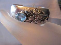 Carol Felley Blue Topaz Flower Cuff Sterling Silver Bracelet Designer Signed #CarolFelleyBlueTopazSterlingSilverBracelet