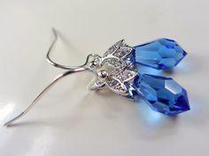 https://www.etsy.com/treasury/MTczMjYxOTB8MjcyNTAwMTU2OA/sapphire-and-garnet-anniversary Swarovski Sapphire Blue Earrings Crystal Drop by NataliaKh on Etsy, $17.77