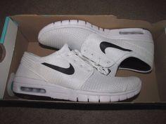 Nike SB Stefan Janoski Max Skateboarding Shoes Mens 8.5 White Black 631303 100 #Nike #Skateboarding