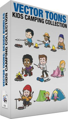 Kids Camping Collection :  Bundle of images includes the following:  A Boy Roasting Marshmallows While Camping A boy with black hair wearing a blue sweatshirt gray pants green sneakers smiles while sitting on a piece of log as he grills two marshmallows on a gray stick above a pit of hot rocks  A Black Girl Roasting Marshmallows While Camping A black girl with curly hair in ponytail wearing a yellow hat with red band and orange string white with pink jacket sky blue pants blue with white…