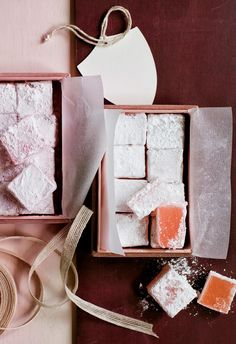 Turkish delight: Go straight for the sweet tooth with this thoughtful gift – rosy cubes of Turkish Delight are dusted with sugar and packed into a pink suede box from H&M Home, lined with paper and tied with an elegant ribbon. | 6 Christmas food presents to gift in 2018 | Styling: Steve Pearce | Photographer: Chris Court