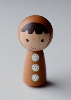 Wooden Kokeshi Peg Doll Gingerbread Boy