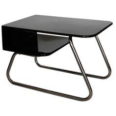 Rare Streamline KEM Weber Side Table in Black Lacquer & Chrome  United States  1930's