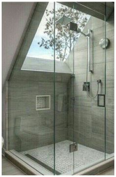 Badezimmer Oberlicht - New Ideas # Skylight bathroom skylight bathroom skylight Skylight Bathroom, Loft Bathroom, Modern Bathroom, Small Bathroom, Master Bathrooms, Bathroom Ideas, Bathroom Showers, White Bathroom, Bohemian Bathroom