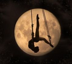 moon projected behind performers except have it be japanese s and m shibari…. hold on this is genius