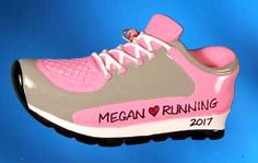 """Running Shoe - Pink & Gray ornament. Also available in blue & green. Buy it now at www.ornamentswithlove.com for $12.99 Can be found in the """"hobby"""" and """"sports"""" categories."""