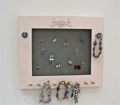 Jewelry Holder for Earrings Bracelets Necklaces by onthewallusa, $28.00