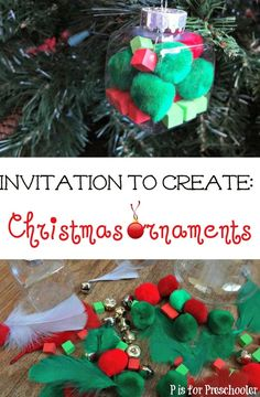 An invitation to create some festive ornaments - and practice fine motor skills too!