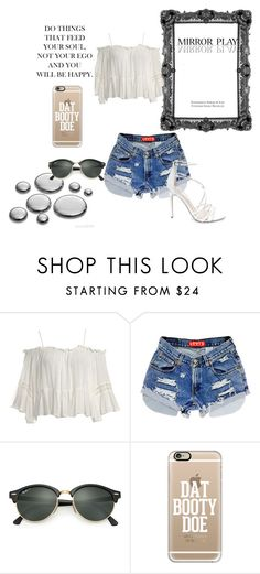 """""""mirror play"""" by shakayla99jenkins ❤ liked on Polyvore featuring Sans Souci, Ray-Ban, Casetify and Steve Madden"""