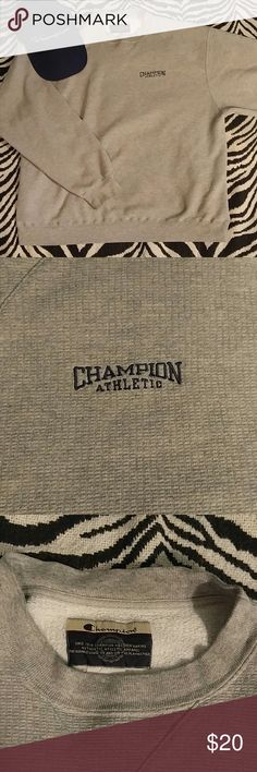 Vintage Champion grey spellout sweatshirt XL Vintage Champion sweatshirt with navy Champion text and grey logo on the sleeve. This is on the thinner/lightweight side for a sweatshirt. Great shape! Bundle with my other Champion items & save! Champion Shirts Sweatshirts & Hoodies