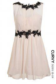 Curvy Nude Lace Applique Dress