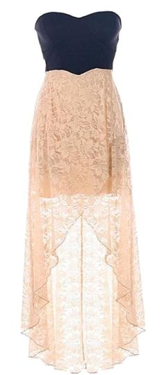 Chantilly Maxi Dress: Features a chic strapless cut with a stunning sweetheart neckline, edgy black bodice trimmed with princess seams and cutout sides, beautiful peach floral lace skirt, and a flattering high-low hem to finish.