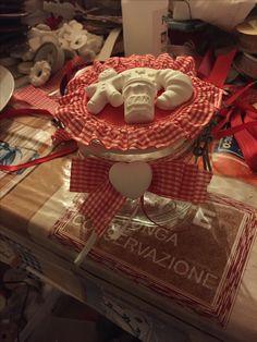 Barattolo decorato con gessetti Rosso