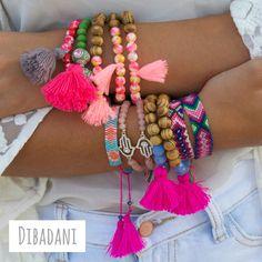 Tassel bracelets - Hamsa hand - pink beaded bracelet