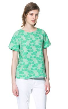 ROUND NECK PRINTED BLOUSE from Zara  Too frowzy, orrrrrr awesome work top?